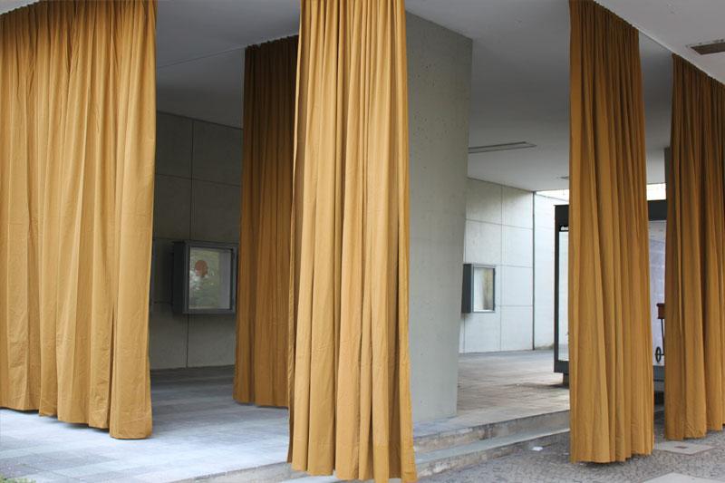 partition curtain wall hinter der poststelle. Black Bedroom Furniture Sets. Home Design Ideas