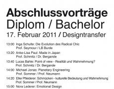 Abschlussvorträge Diplom/Bachelor Industrial Design