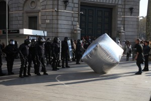 inflatable cobblestone at general strike 29.03.2012